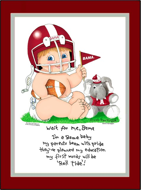 Alabama Wait for Me Baby Football Player Matted Print