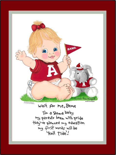 Alabama Wait for Me Baby Cheerleader Matted Print