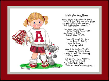 Alabama Wait for Me Cheerleader Matted Print