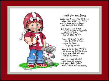 Alabama Wait for Me Football Player Matted Print