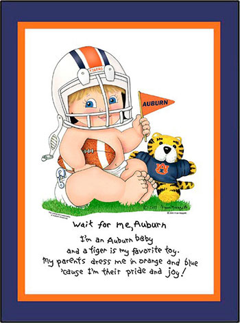 Auburn Wait for Me Baby Boy Matted Print