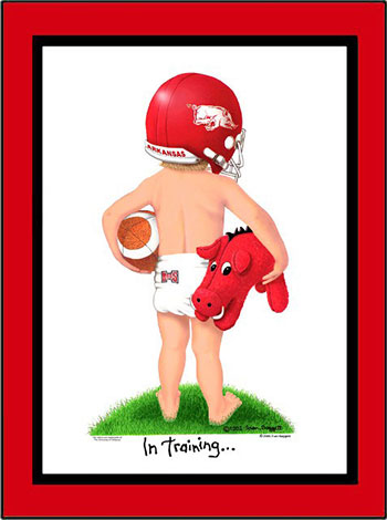 Arkansas In Training Football Player Matted Print
