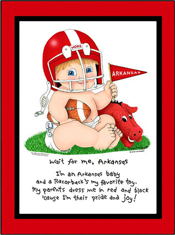 Arkansas Wait for Me Baby Boy Matted Print