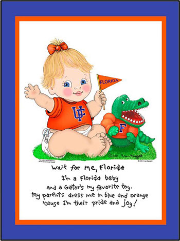 Florida Wait for Me Baby Cheerleader Matted Print