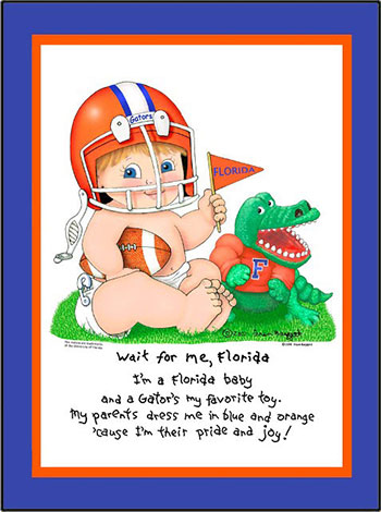 Florida Wait for Me Baby Football Player Matted Print