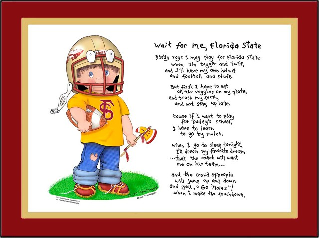 Florida State toddler football player standing in grass holding a football under one arm and a toy tomahawk in the other hand. He is wearing jeans with a hole in the knee, tee shirt, sneakers and helmet. The Wait for Me, Florida State poem is to the right of the graphic.