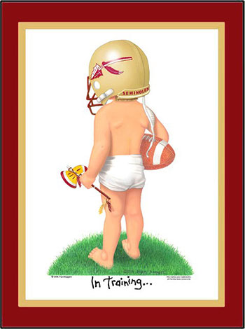Florida State In Training Football Player Matted Art Print