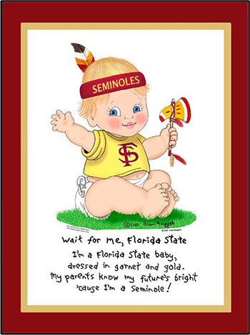 Florida State Wait for Me Baby Cheerleader Matted Art Print