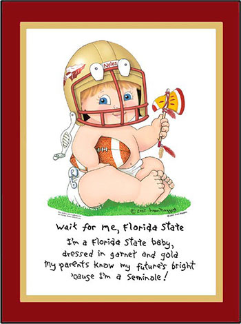 Florida State Wait for Me Baby Football Player Matted Art Print