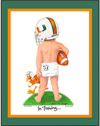 Miami In Training Football Player Matted Print