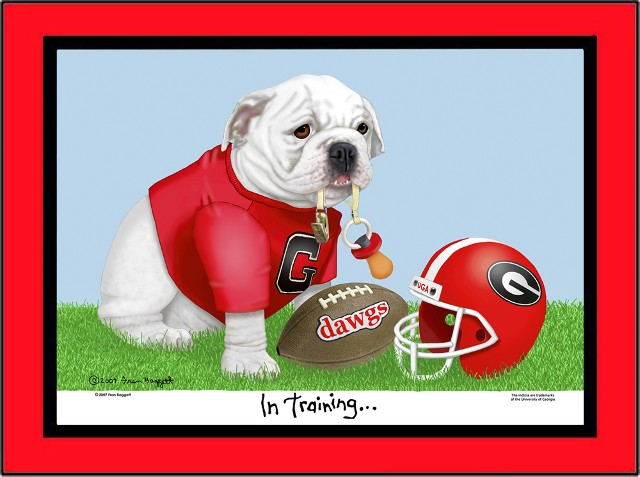 Georgia baby bulldog sitting in the grass, wearing a red tee shirt with Georgia logo and holding a doggie pacifier in his mouth. There is a football and helmet next to him. In Training is printed under the graphic