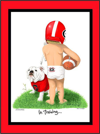 Georgia In Training Football Player Matted Print