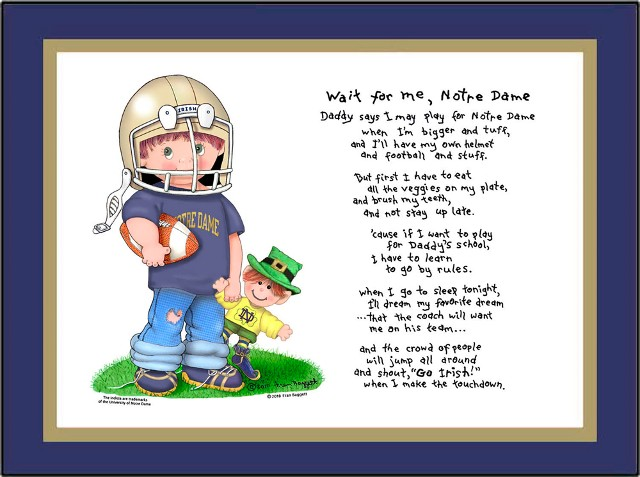 Notre Dame Wait for Me Football Player Matted Art Print