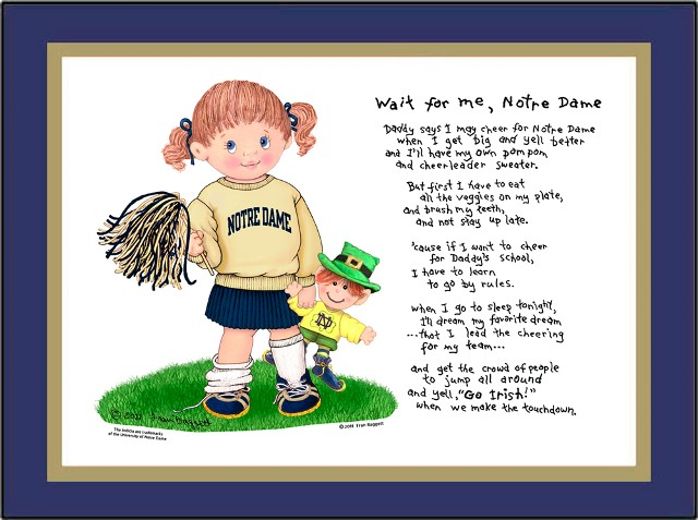 Notre Dame Wait for Me Cheerleader Matted Art Print