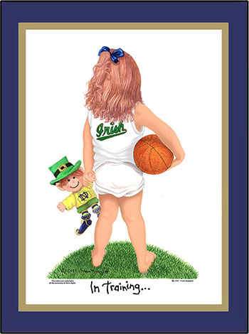 Notre Dame In Training Basketball Player Matted Art Print