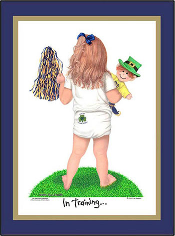 Notre Dame In Training Cheerleader Matted Art Print