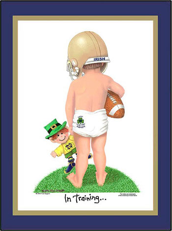Notre Dame In Training Football Player Matted Art Print
