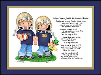 Notre Dame Wait for Me Brothers Football Players Matted Art Print