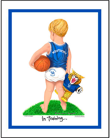 Kentucky In Training Basketball Player Matted Print