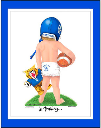 Kentucky In Training Football Player Matted Print