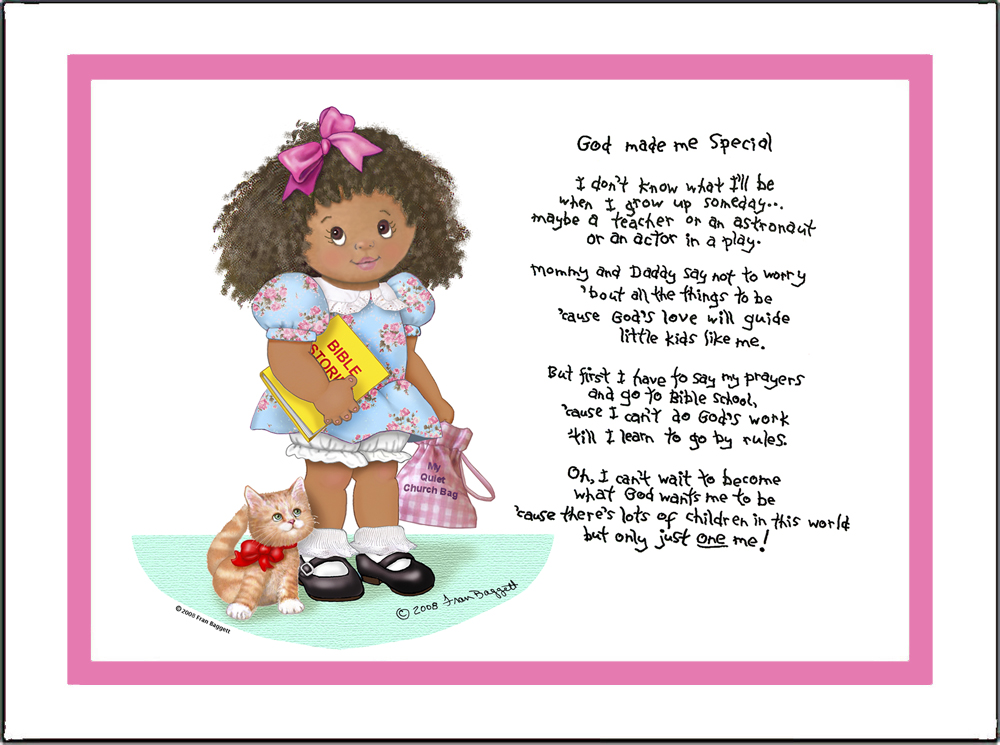 God Made Me Special Girl Matted Print with Poem Larger Size