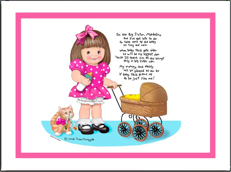 Big Sister with Baby Stroller Matted Art Print with Poem