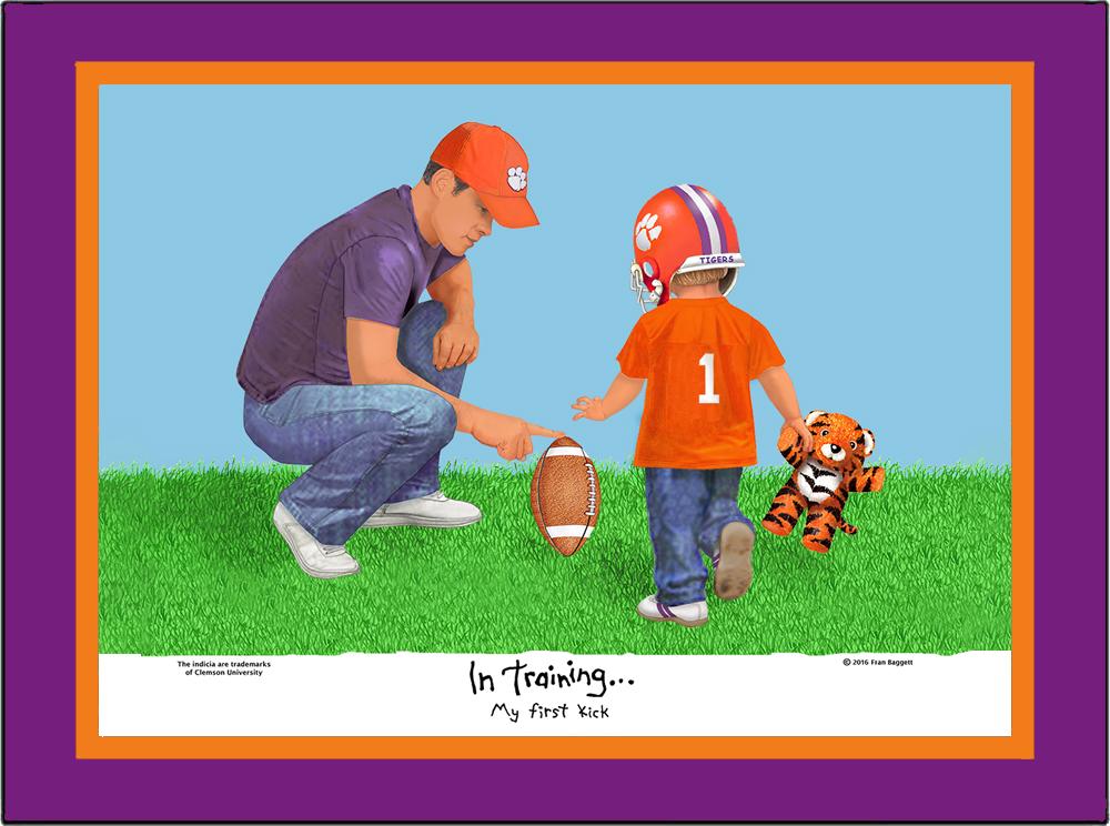 Clemson Tigers My First Kick Matted Art Print of toddler boy with his dad