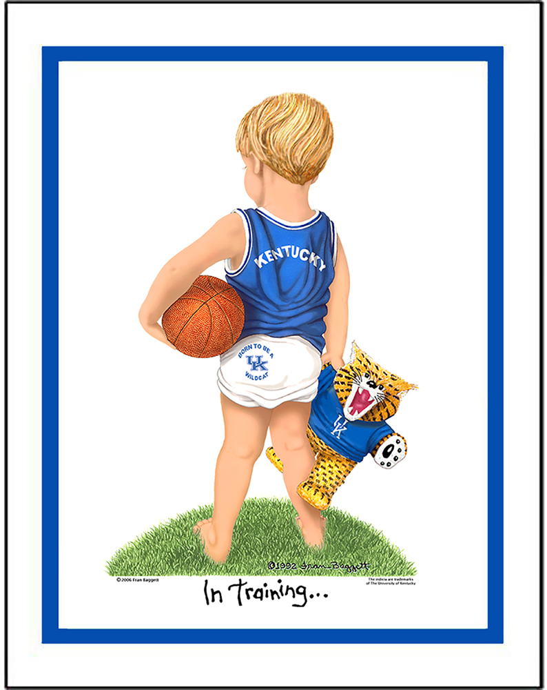 Kentucky In Training basketball player matted art print